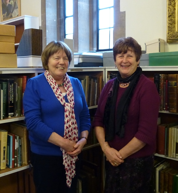 "Authors of ""Inspired to Teach"", Jenny Head (left) and Anne Johns in the library at The Salisbury Museum, once the library of the former College of Sarum St Michael."